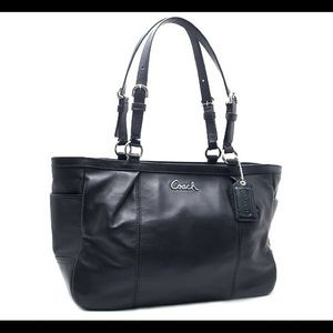Coach Black Leather East West Gallery Tote